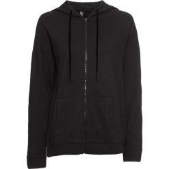Bluza rozpinana z kapturem i aksamitnymi      troczkami bonprix czarny. Czarne bluzy rozpinane damskie bonprix, z kapturem. Za 54,99 zł.