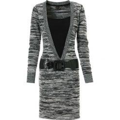 Sukienki: Sukienka dzianinowa bonprix czarno-szary melanż