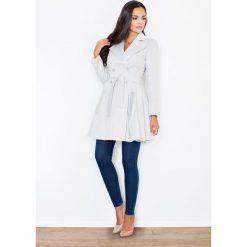 Płaszcze damskie pastelowe: Szary Dwurzędowy Klasyczny Jesienny Płaszcz Typu Trencz