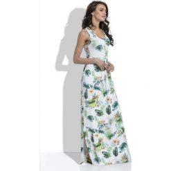 Biała Długa Letnia Sukienka w Liście i Kwiaty. Białe długie sukienki marki bonprix, na plażę, w koronkowe wzory. Za 149,90 zł.