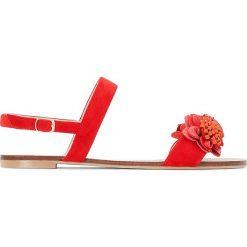 Rzymianki damskie: Sandały z kwiatkiem, szeroka stopa 38-45