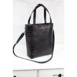 Shopper bag damskie: Skórzany Shopper Verona czarny krokodyl L/d