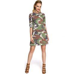 Sukienka Trapezowa o Linii A z Printem Moro Model 1. Brązowe sukienki dresowe Molly.pl, na co dzień, l, moro, trapezowe. Za 119,90 zł.