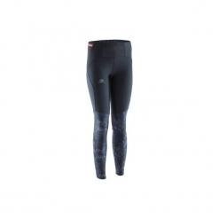Legginsy do biegania długie damskie. Czarne legginsy marki KALENJI, z elastanu, z długim rękawem, długie. Za 99,99 zł.