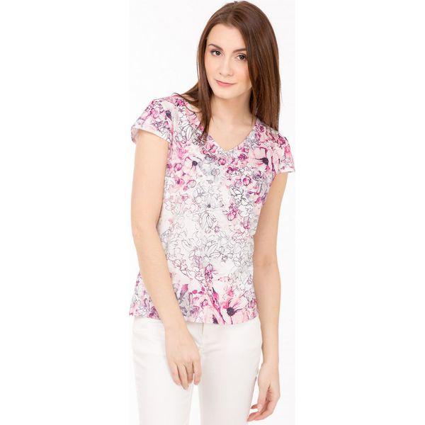c3817415fa Romantyczna bluzka w kolorowe kwiaty - Szare bluzki damskie Monnari ...