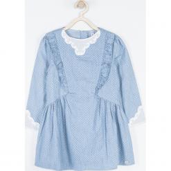Sukienka. Niebieskie sukienki dziewczęce z falbanami HEART SMILE, z aplikacjami, z bawełny, z długim rękawem, długie. Za 109,90 zł.
