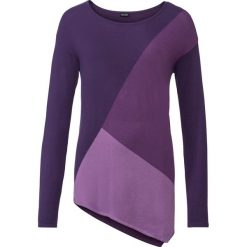 Swetry klasyczne damskie: Sweter w kontrastowym połączeniu kolorów bonprix lila wzorzysty