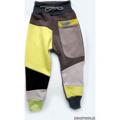 PATCH PANTS spodnie 74 - 98 cm żółty i szary. Szare spodnie dresowe dziewczęce Pakamera, z dresówki. Za 89,00 zł.
