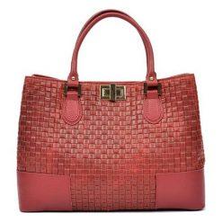 Torebki i plecaki damskie: Skórzana torebka w kolorze czerwonym – (S)27 x (W)38 x (G)15 cm