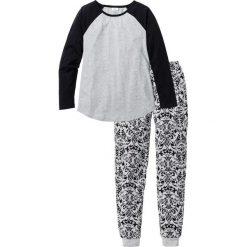 Piżamy damskie: Piżama bonprix jasnoszary melanż – czarny z nadrukiem