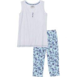 Piżamy damskie: Piżama ze spodniami 3/4 bonprix biało-niebieski z nadrukiem