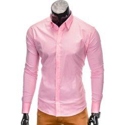 KOSZULA MĘSKA ELEGANCKA Z DŁUGIM RĘKAWEM K219 - RÓŻOWA. Brązowe koszule męskie na spinki marki Ombre Clothing, m, z aplikacjami, z kontrastowym kołnierzykiem, z długim rękawem. Za 49,00 zł.