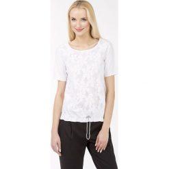Bluzki asymetryczne: Bluzka z żakardowym, kwiatowym wzorem