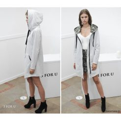 EveryDay Coat Bluza długa szara. Szare bluzy z kapturem damskie Pakamera, l, moro, z długim rękawem, długie. Za 259,00 zł.