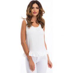 Bluzki damskie: Kremowa bluzka z wiązaniem na plecach 2128