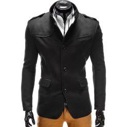 PŁASZCZ MĘSKI C92 AUGUSTIN - CZARNY. Czarne płaszcze na zamek męskie Ombre Clothing, na zimę, l, z materiału, eleganckie. Za 145,00 zł.