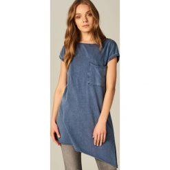 Bluzki, topy, tuniki: Długa koszulka z asymetrycznym dołem – Niebieski