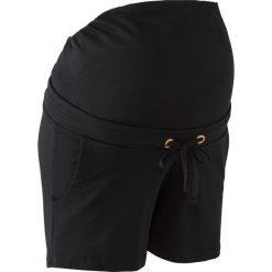 Wygodne szorty ciążowe z gumką bonprix czarny. Czarne spodnie ciążowe marki bonprix, w paski, z dżerseju. Za 69,99 zł.