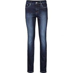 Dżinsy wyszczuplające SKINNY bonprix ciemny denim. Niebieskie jeansy damskie marki House, z jeansu. Za 159,99 zł.