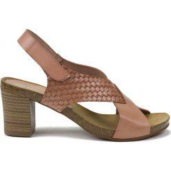 Rzymianki damskie: Skórzane sandały w kolorze jasnoróżowym