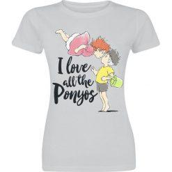 Ponyo - Das große Abenteuer am Meer I Love All The Ponyos Koszulka damska jasnoszary. Szare bluzki z odkrytymi ramionami Ponyo - Das große Abenteuer am Meer, s, z nadrukiem, z okrągłym kołnierzem. Za 42,90 zł.