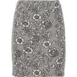 Minispódniczka z elastycznego żakardu bonprix biel wełny wzorzysty. Białe spódniczki marki bonprix, w koronkowe wzory, z koronki. Za 37,99 zł.