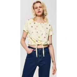 T-shirty damskie: T-shirt z wiązaniem – Żółty