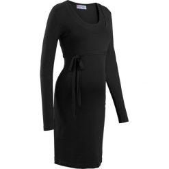 Sukienka dzianinowa ciążowa i do karmienia piersią, z wiązanym paskiem bonprix czarny. Czarne sukienki ciążowe marki bonprix, w paski, z dzianiny, z okrągłym kołnierzem, moda ciążowa. Za 109,99 zł.