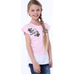 T-shirty dziewczęce: Koszulka dziewczęca z łączonych materiałów jasnoróżowa NDZ8212