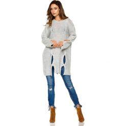 Dłuższy Jasnoszary Sweter z Owalnymi Wycięciami. Niebieskie swetry oversize damskie Molly.pl, uniwersalny, z jeansu. Za 109,90 zł.