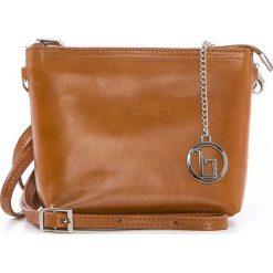 Torebki klasyczne damskie: Skórzana torebka w kolorze jasnobrązowym – 20 x 16 x 6 cm
