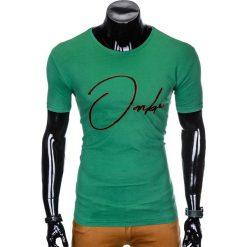 T-shirty męskie: T-SHIRT MĘSKI Z NADRUKIEM S989 - ZIELONY
