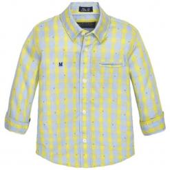 Koszula w kolorze żółto-szarym. Szare koszule chłopięce marki Mayoral, w kratkę, z klasycznym kołnierzykiem. W wyprzedaży za 57,95 zł.