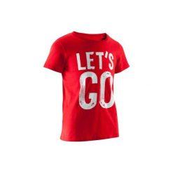 Koszulka z krótkim rękawem. Szare bluzki dziewczęce z krótkim rękawem marki DOMYOS, z elastanu, z kapturem. W wyprzedaży za 7,99 zł.