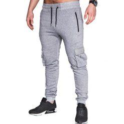 SPODNIE MĘSKIE DRESOWE P429 - SZARE. Szare spodnie dresowe męskie Ombre Clothing, z bawełny. Za 35,00 zł.