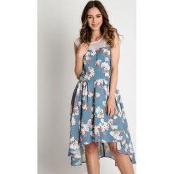 Sukienki asymetryczne: Asymetryczna sukienka w kwiaty BIALCON