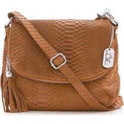 Torebki klasyczne damskie: Skórzana torebka w kolorze jasnobrązowym – 28 x 20 x 8 cm