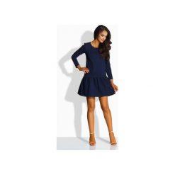 LEMONIADE  L218 Elegancka sukienka z kokardą. Niebieskie długie sukienki Lemoniade, l, eleganckie, z kokardą, z długim rękawem. Za 125,90 zł.