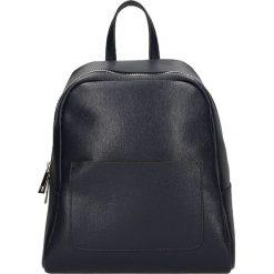 """Plecaki damskie: Skórzany plecak """"Victor Hugo"""" w kolorze granatowym – 22 x 26 x 13 cm"""