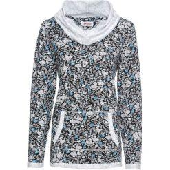 Bluza z lekkiego, lejącego materiału, długi rękaw bonprix czarny w kwiaty. Czarne bluzy rozpinane damskie bonprix, w kwiaty, z długim rękawem, długie. Za 99,99 zł.