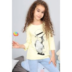 Bluzki dziewczęce z nadrukiem: Żółta Bluzka z Nadrukiem NDZ7569