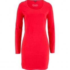 Sukienka ze stretchem, długi rękaw bonprix truskawkowy. Czerwone długie sukienki bonprix, z długim rękawem. Za 34,99 zł.