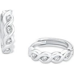 Biżuteria i zegarki: Srebrne kolczyki-kreole z cyrkoniami