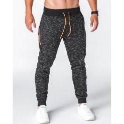 SPODNIE MĘSKIE DRESOWE P643 - CZARNE. Czarne spodnie dresowe męskie Ombre Clothing, z bawełny. Za 49,00 zł.
