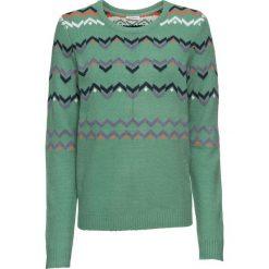 Sweter w norweski wzór bonprix zielony szałwiowy. Zielone swetry klasyczne damskie bonprix, z okrągłym kołnierzem. Za 109,99 zł.