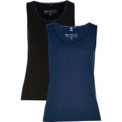 Top (2 szt.) bonprix ciemnoniebieski + czarny. Niebieskie topy damskie bonprix, z koronki, z klasycznym kołnierzykiem. Za 55,98 zł.