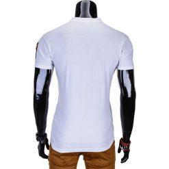 T-SHIRT MĘSKI BEZ NADRUKU S665 - BIAŁY. Szare t-shirty męskie z nadrukiem marki Ombre Clothing, m, z bawełny, ze stójką. Za 35,00 zł.