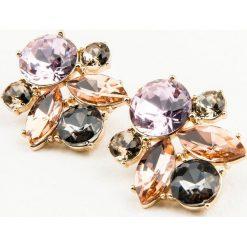 Kolczyki damskie: NA-KD Accessories Duże, wielokolorowe diamentowe kolczyki – Pink,Multicolor