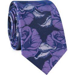 Krawat jedwabny KWFR000306. Fioletowe krawaty męskie Giacomo Conti, w kwiaty, z jedwabiu, eleganckie. Za 129,00 zł.
