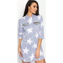 Niebieska Koszula Starshine. Niebieskie koszule damskie Born2be, klasyczne, z klasycznym kołnierzykiem, koszulowe. Za 59,99 zł.